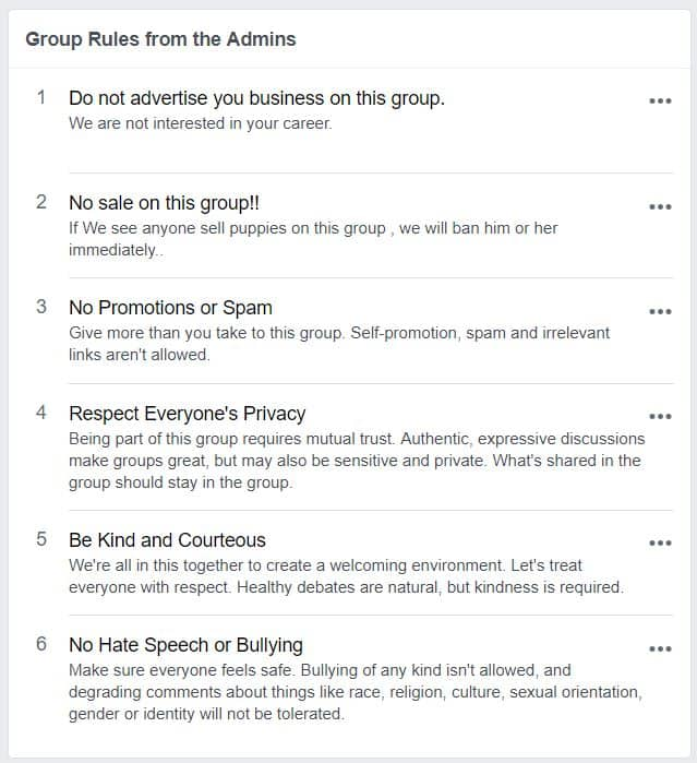 Screenshot of rules from a Facebook group