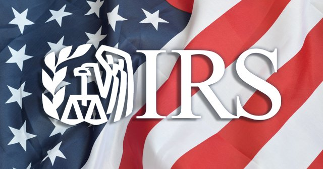 Internal Revenue Service, IRS, logo on an American flag