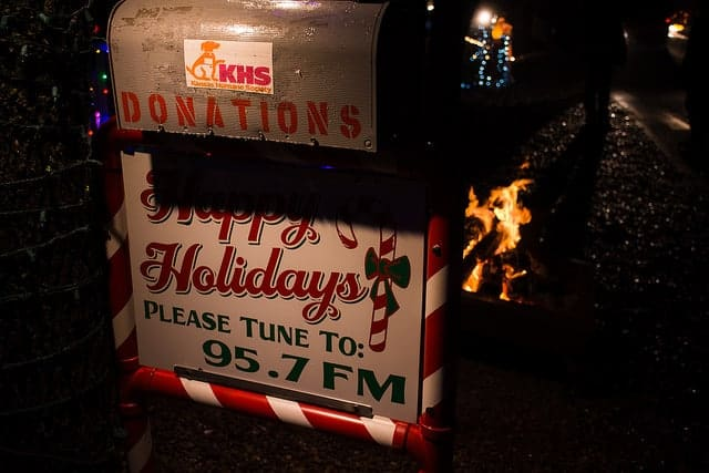 Holiday lights in Wichita - donation box. Many of the houses with Christmas light displays collect for charities.