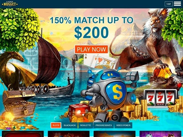 Lucky Nugget Casino $1000 free bonus and 350 free spins on Microgaming slots