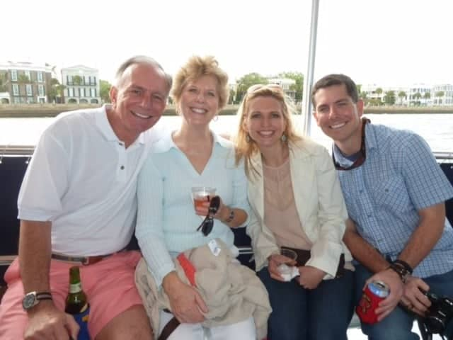 Group of four enjoying a Sandlapper Tour and their drinks. Boat charter Charleston SC