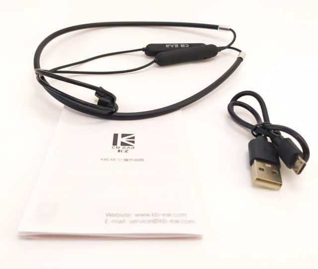 Image shows the included contents of the KBEAR S1 Bluetooth Cable.