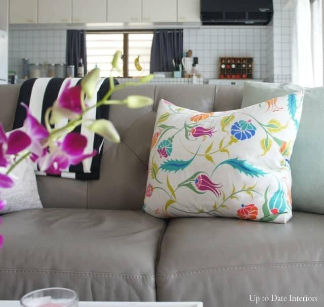 Spring interior decor with bright pillow