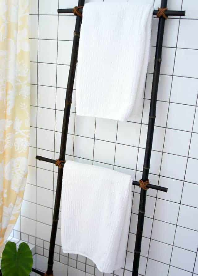 DIY decorative ladder with bamboo