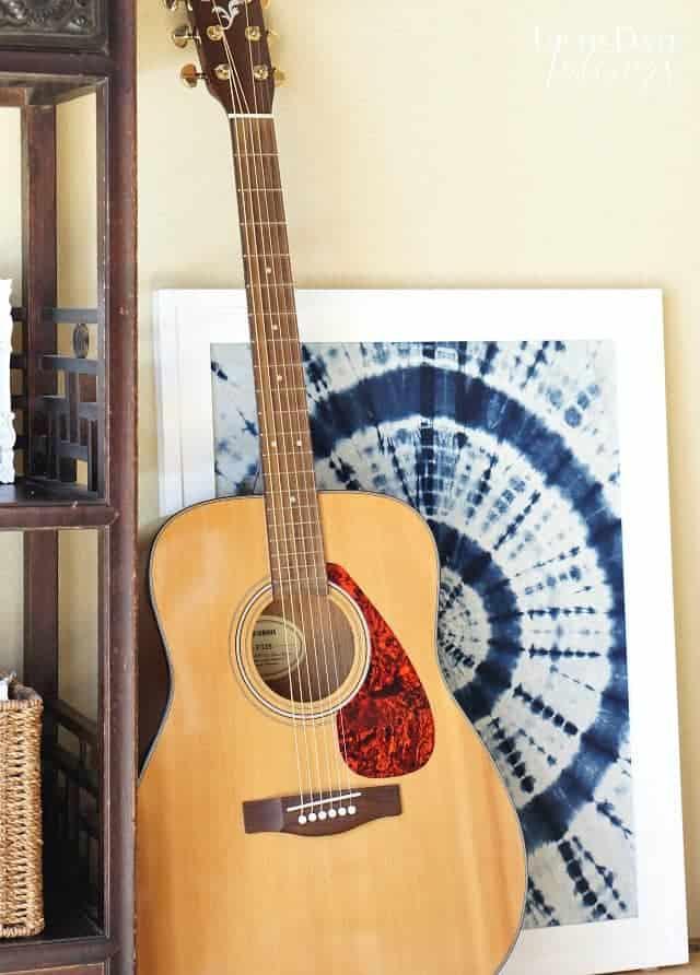 indigo-shibori-fabric framed for decor