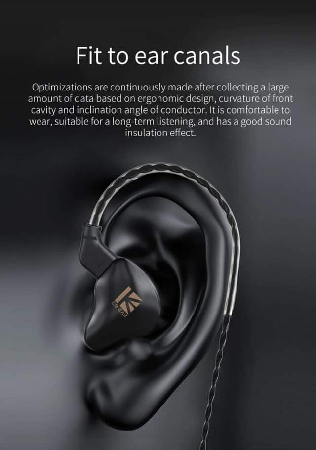 Image shows an ear with the earphone entering it.