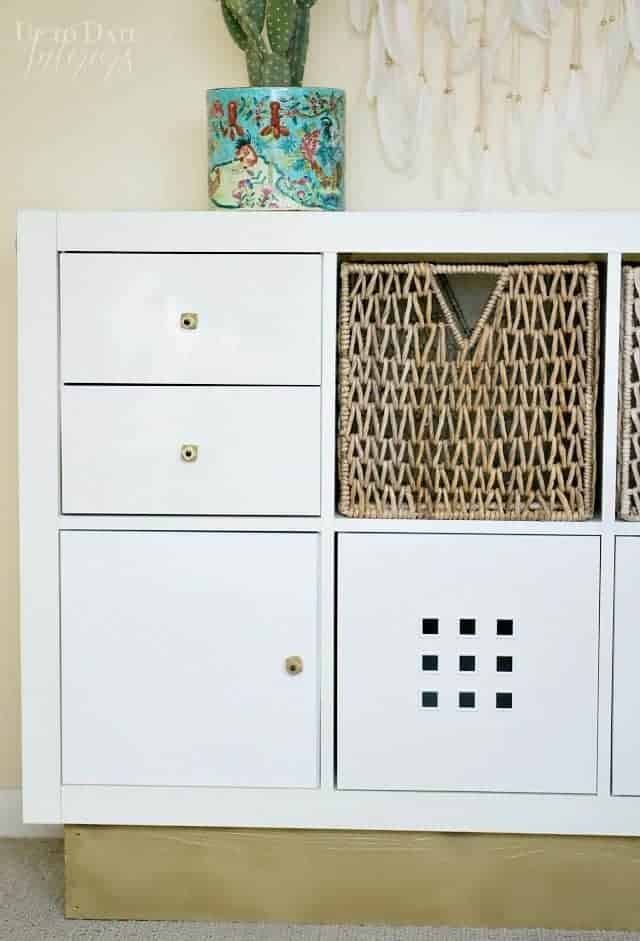 Ikea Kallax Bookcase Makeover Wood Gold Knobs And Base