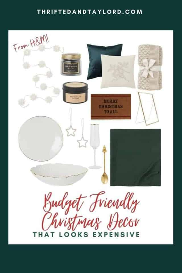 """Pick up some of these budget friendly Christmas decorations that look expensive but are really from H&M. Photo shows a white snowflake garland, a firewood and figs scented candle, a evergreen forest scented candle, a deep emerald green velvet pillow, a cream pillow with a bird and some Christmas foliage embroidered on it, a cream knit throw blanket, a gold rimmed dish, a gold rimmed serving bowl, a gold rimmed champagne flute, a set of 2 star ornaments, a gold spoon with a Christmas tree as the top of the handle, a hunter green linen tablecloth, a doormat that says """"merry Christmas to all"""" and a gold metal photo frame."""