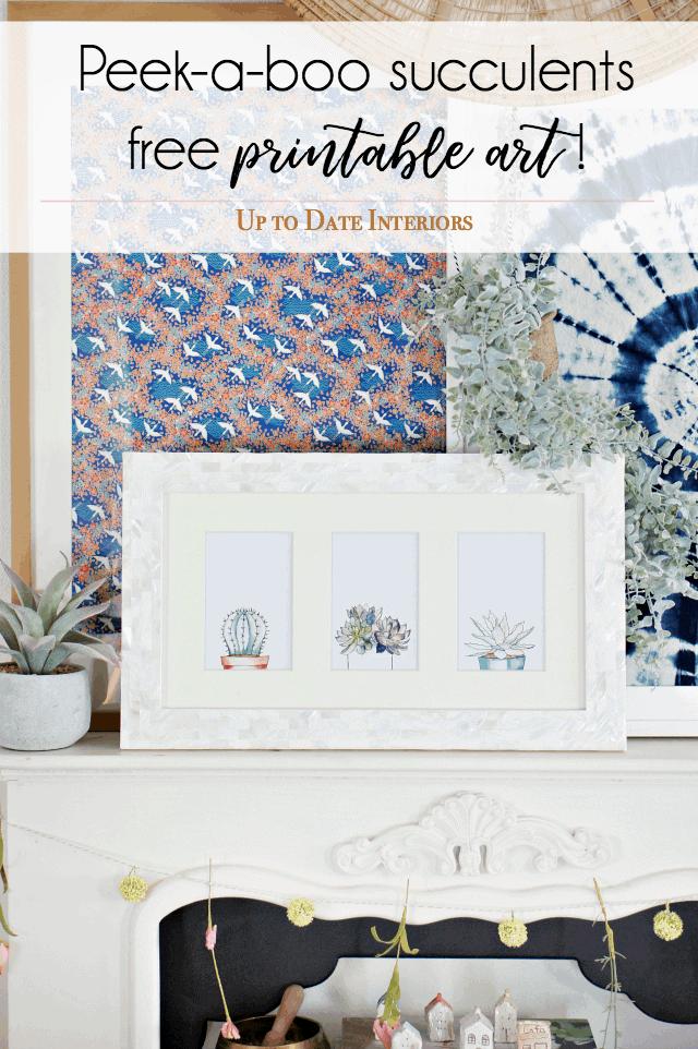 Peek A Boo Watercolor Succulents Free Printables