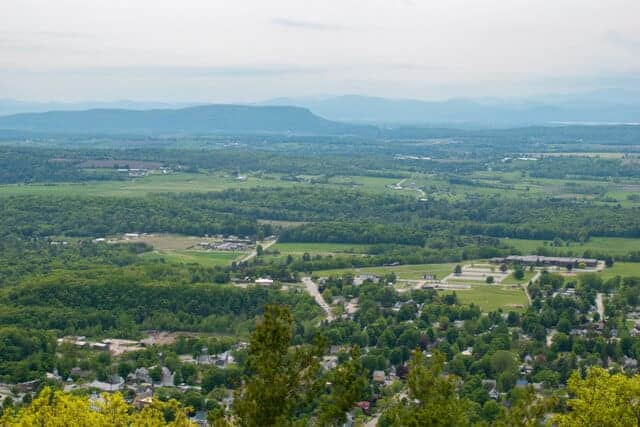 The view of Bristol, Vermont from the Bristol Ledges trail