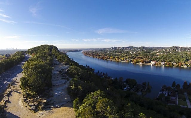 One of the places to visit in austin tx - the top of Mount Bonnell