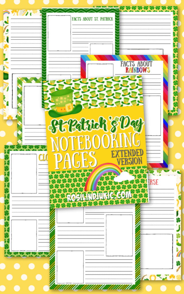 Get these free St. Patrick's Day Notebooking pages and make writing and art notebooking so much fun this season! #alittlerandr #stpatricksday #notebooking #homeschooling