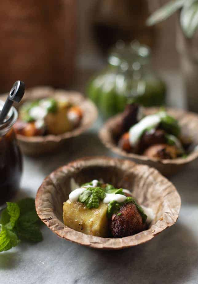 chaat made from two kinds of sweet potatoes topped with chutney