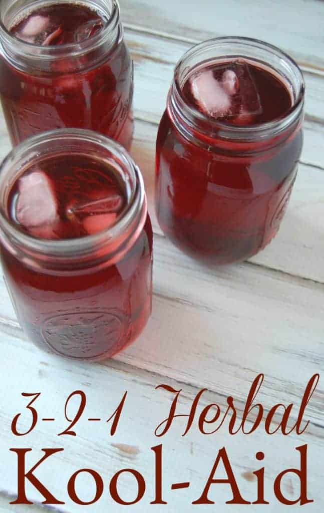 3-2-1 Herbal Tea - A Homemade Kool-Aid Alternative - Say goodbye to toxic filled koolaid and hello to this beneficial herbal alternative! #dyefree #koolaid #kiddrinks #drinks #punch #herbaltea