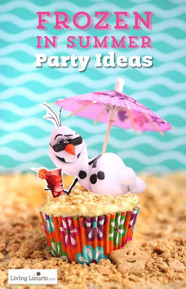Fun ideas for a Disney's Frozen Summer Birthday Party. Olaf gets to enjoy the beach! Fun food ideas, cupcakes, printables and games. Kids Beach Pool Party.