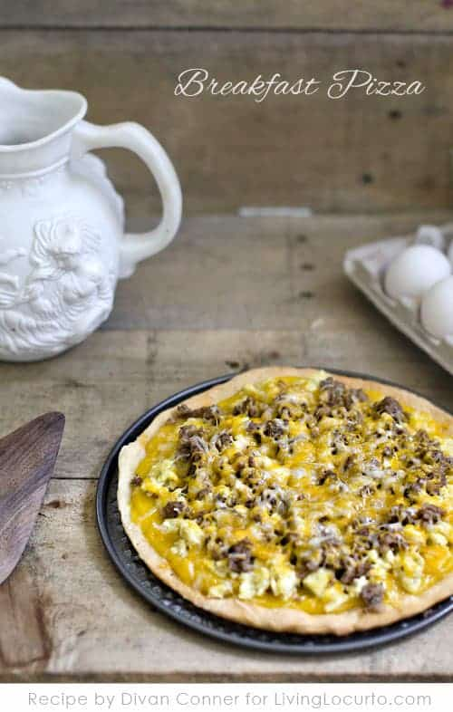 Easy Cheesy Egg Breakfast Pizza Recipe. Fun Father's Day Gifts and Recipe ideas for brunch.