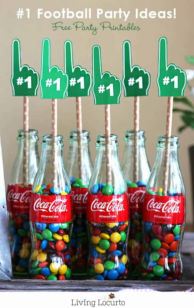 Free Football printables. Decorate your home with classic Coke glass bottles and these Free Football Party Printables. DIY Football Party Ideas by LivingLocurto.com