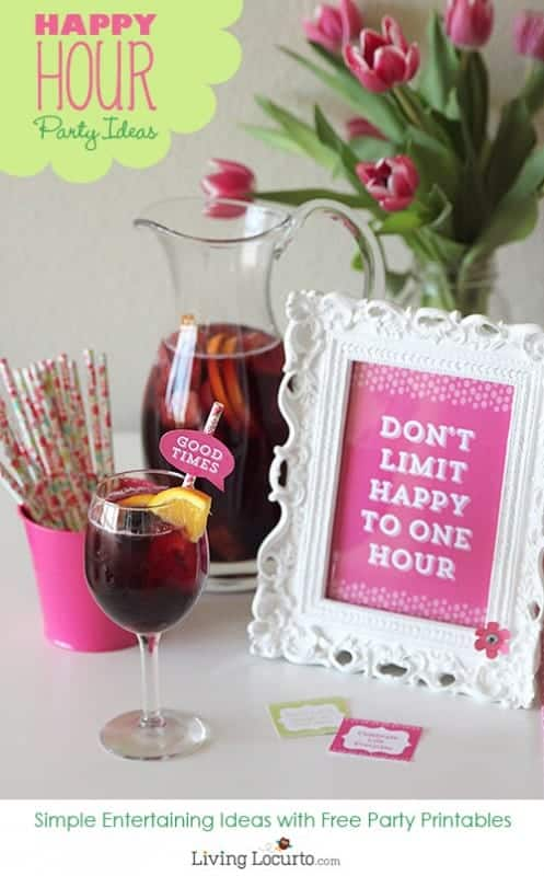 Happy Hour Party Ideas and Free Printables! Easy low cal recipe for Skinny Sangria.