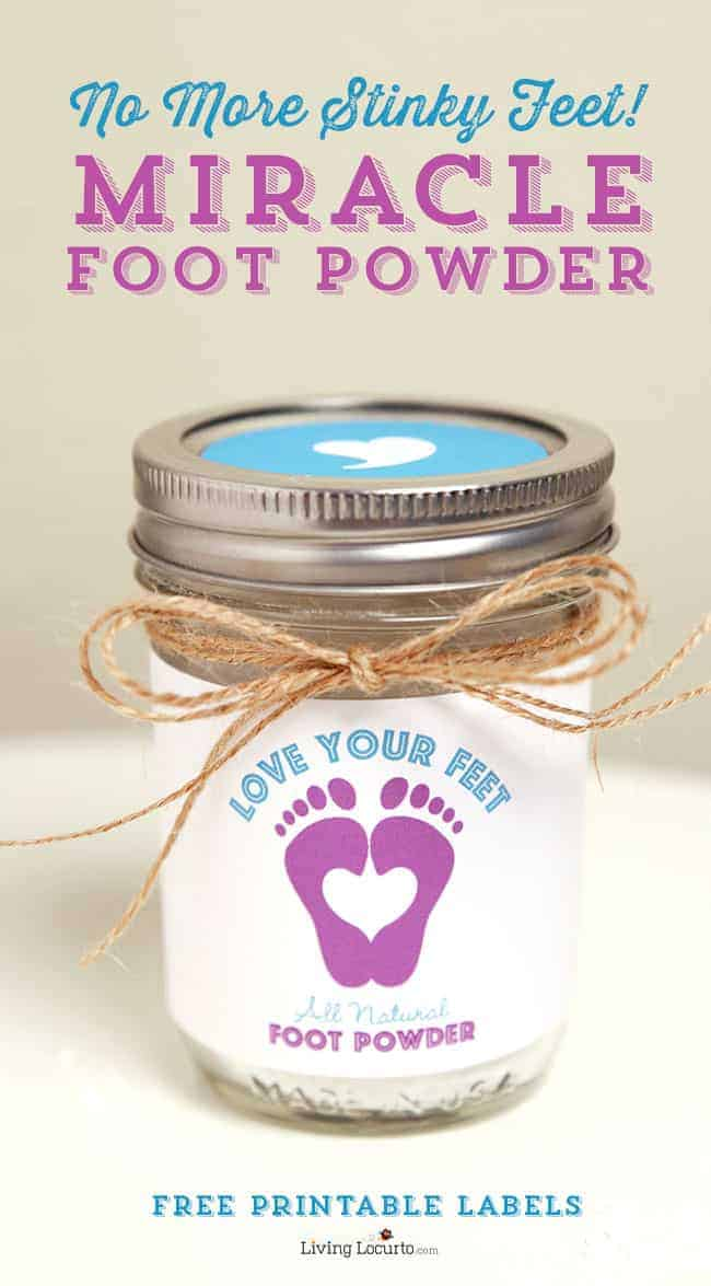Homemade foot powder is an easy hack to get rid of smelly feet odor and stinky shoes. An essential oils all natural recipe with free printable labels. No more stinky feet! LivingLocurto.com