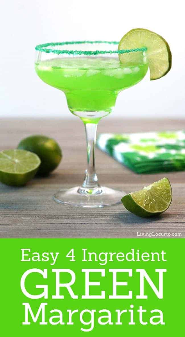 The Best Green Margarita recipe. A colorful green cocktail for a St. Patrick's Day party. Celebrate the day with this easy green drink.