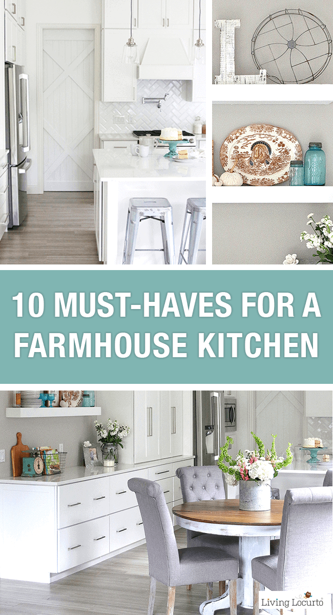 10 Must-Haves for a Farmhouse Kitchen. Simple decorating Ideas for how to update your kitchen to a Modern Farmhouse Style.