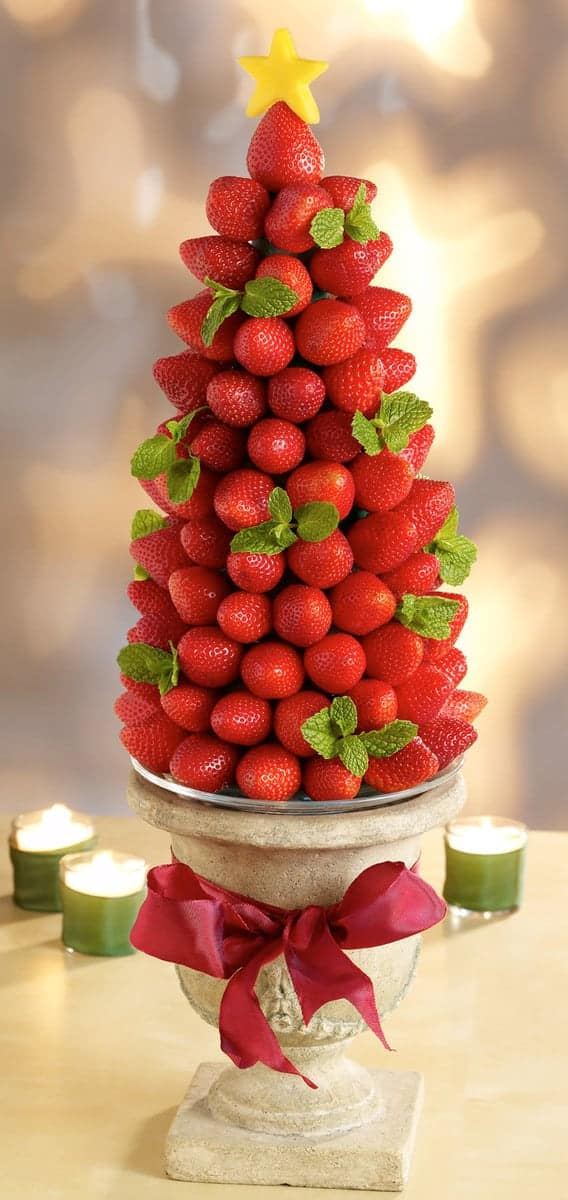 Strawberry Christmas Tree - Christmas Tree Shaped Appetizers perfect for a Holiday Party!