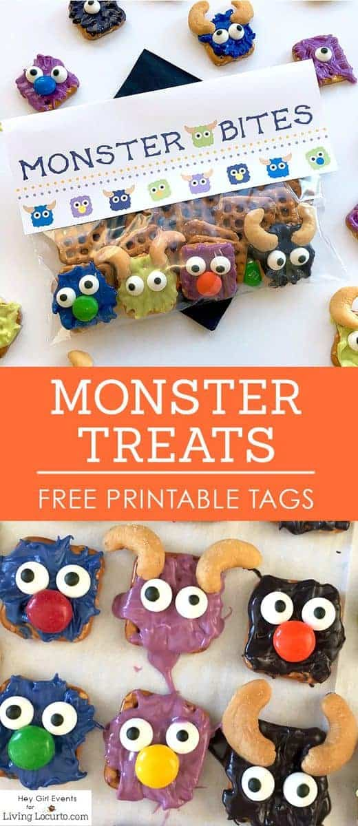 Monster Bites! Monster Candy Pretzels with FREE Printable Party Favors.