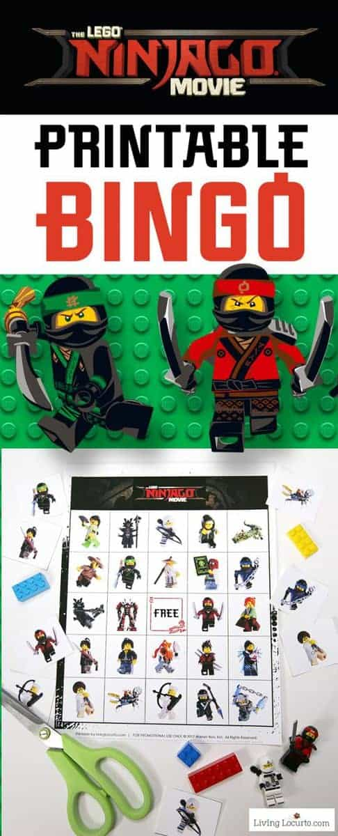 LEGO NINJAGO Bingo free printable game. Print and play for a fun birthday party kids activity or family game night! Cute LEGO Bingo game to celebrate The LEGO NINJAGO Movie. Download this Printable LEGO Bingo Game for simple kid fun.