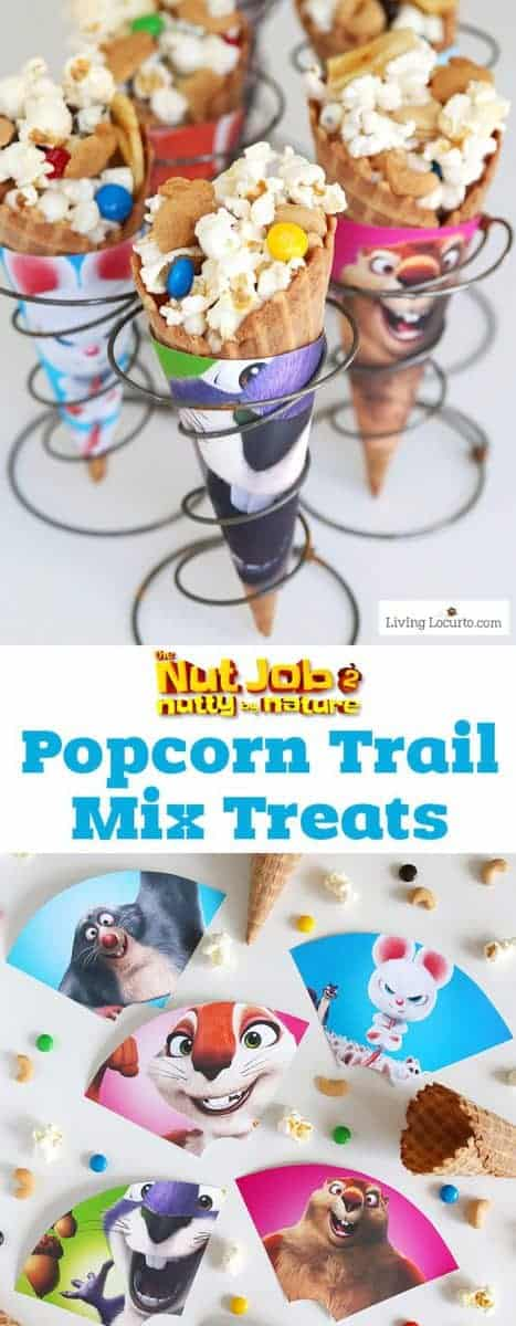An easy popcorn trail mix recipe served in waffle cones is the perfect treat! Free printable ice cream cone wrappers in celebration of The Nut Job 2 movie in theaters August 11. Cute party treat idea for kids!