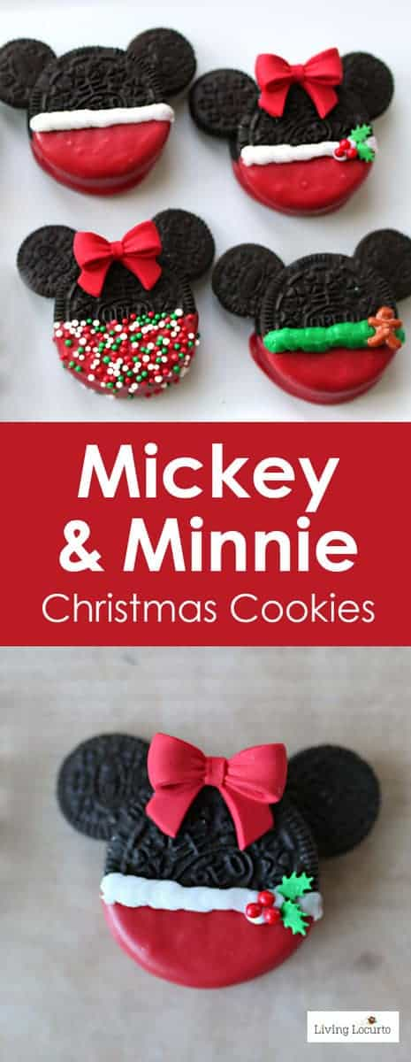 Adorable No Bake Mickey & Minnie Mouse Christmas Cookies made with Oreos. Fun Disney themed holiday cookies for a party, gifts or cookie exchange.