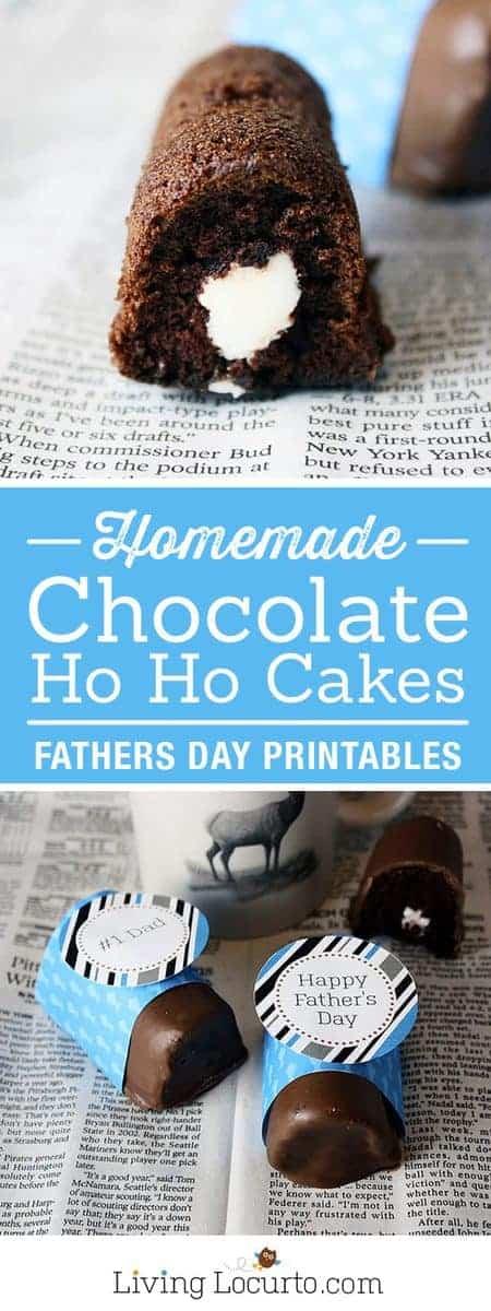 Father's Day Ideas - Homemade Ho Ho Chocolate Cake Recipe. Free printable Father's Day gift tags. LivingLocurto.com