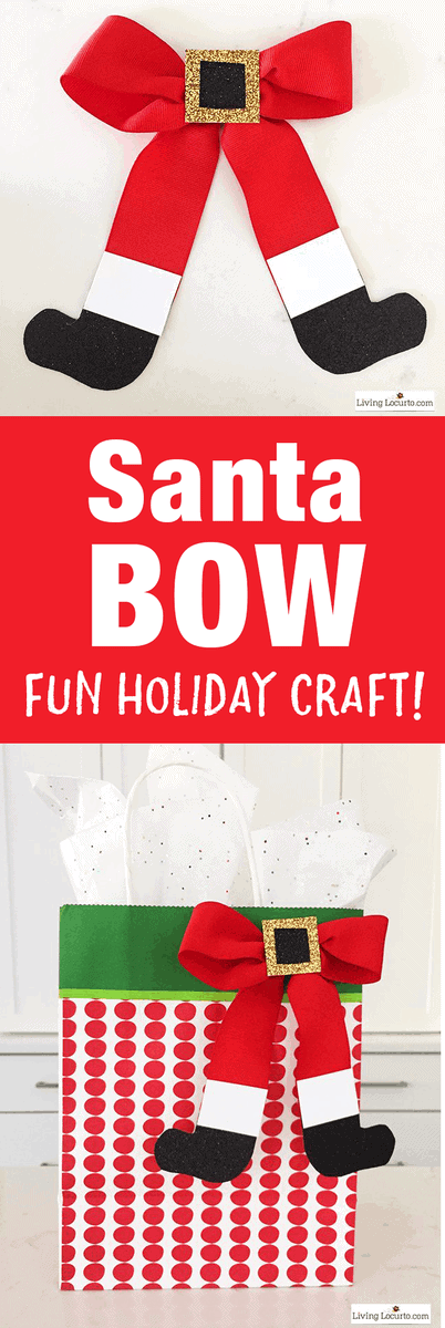 How to Make a Santa Bow! This simple craft adds a special touch to any Christmas presentor little girl's hair!Such an easy Christmas craft to make this holiday season. #santa #christmas
