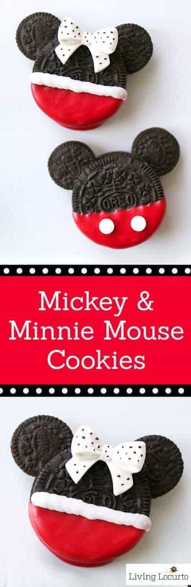 Cute Disney No-Bake Cookies! Mickey and Minnie Mouse Oreo Cookies are perfect for a Disney Birthday Party or to celebrate a trip to a Disney theme park. Kids will love these cookies.