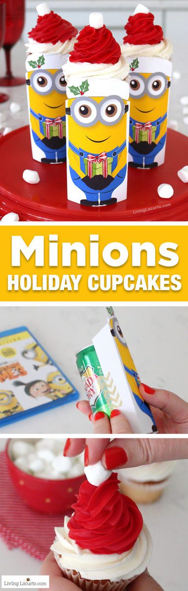 Minions Christmas cupcakes are so cute! With a free printable, soda can and Santa hat cupcake this idea makes adorable Despicable Me 3 holiday party treats! The Despicable Me 3 Special Edition Blu-ray and DVD is in stores now and the perfect stocking stuffer. #DespicableMe3 #DM3family #minions #christmas #cupcakes