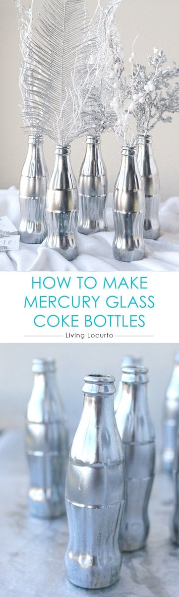 How to Make a Mercury Glass Coke Bottles. Easy DIY Craft Idea for Coca-Cola bottles. These would be great as a holiday centerpiece in your home!