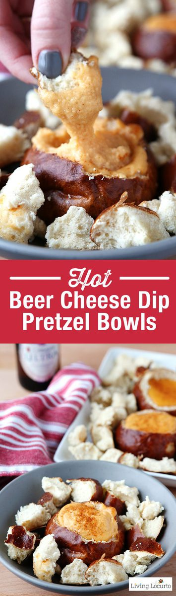 Hot Beer Cheese Dip in individual pretzelbread bowls. A crowd pleasing appetizer recipe for any party! With a little spicy kick, these Hot Beer Cheese Dip Pretzel Bread Bowls are perfect snacks for game day, a birthday party or happy hour with friends. Serve the cheese dip in a crock pot slow cooker along side of vegetables, pretzels or any other kind of bread. A mini pretzel bread bowl is a perfect way to eat Beer Cheese Dip because you don't have to worry about double dipping! LivingLocurto.com