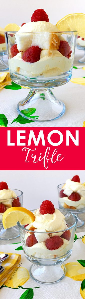 Lemon trifle recipe is a simple layered dessert you can whip up in no time! Impress your lemon lover friends with a easy to make treat made with layers of pound cake, raspberries and a lemon filling mixture of yogurt, whipped cream and pudding. An easy low-carb party recipe idea!