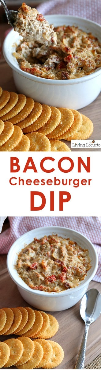 AmazingBacon Cheeseburger Dip Recipe! It's the perfect snack recipe for a football party or delicious appetizer for your next holiday party. An addictive warm, cheesy dip recipe you can't stop eating! LivingLocurto.com