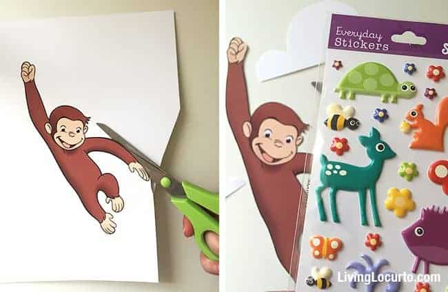 Recipe, directions and free printable monkey to prepare adorable Curious George Balloon Cupcakes. Kids birthday cake idea. Fun Food school class party. LivingLocurto.com