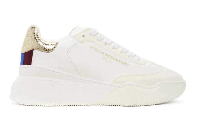 Gold and white loop sneakers