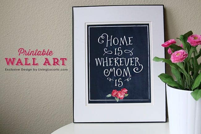 Home is Wherever Mom Is. Printable Wall Art by LivingLocurto.com