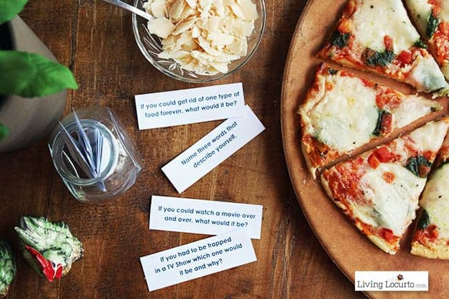 48 Free Printable Dinner Conversation Starter Cards. Perfect Ristorante Pizza meal idea for your family or dinner party!