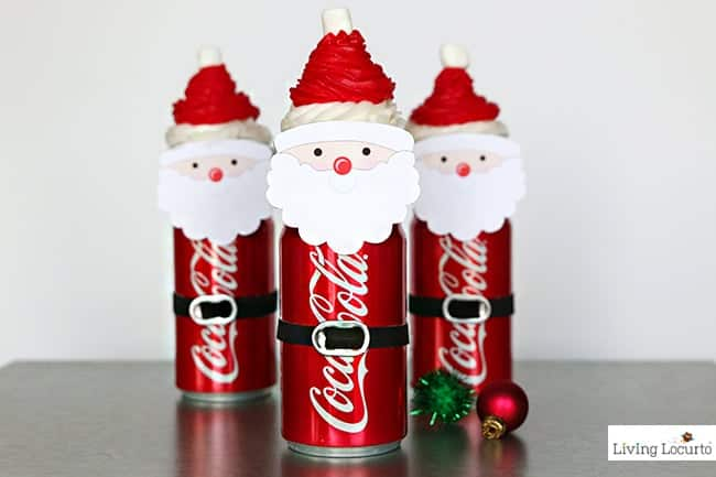 Santa Cupcakes made with Mini Coca-Cola Cans. Chocolate Coke Cupcakes recipe and cute food craft. Easy Christmas dessert for kids with free printables.