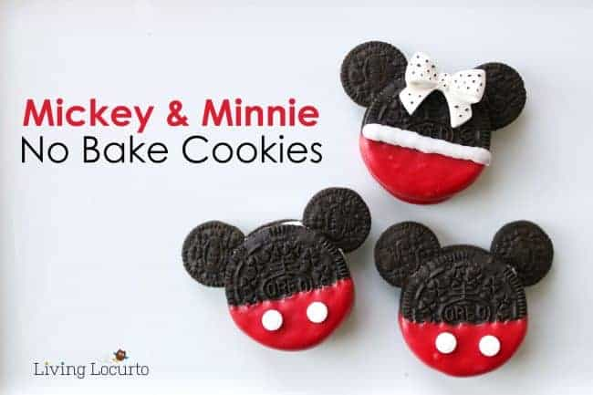 Cute Disney Themed No-Bake Cookies! Mickey and Minnie Mouse Cookies are perfect for a Disney Birthday Party or Everyday Fun Food Idea for Kids! LivingLocurto.com