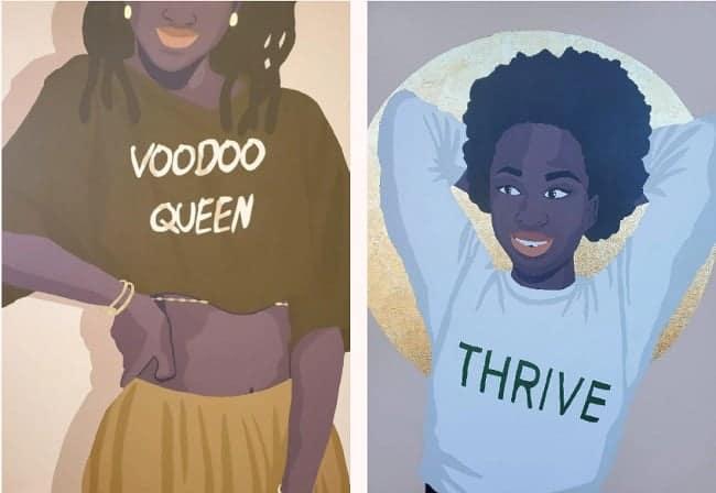 Abi Salami, A Portrait of an Artist Surviving a Pandemic, 2020; and Voodoo Queen, 2021. Nigerian artists