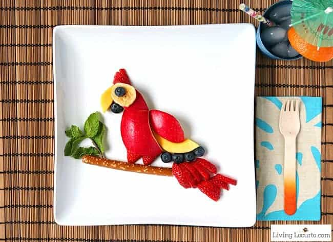 How to make a Healthy Parrot Fruit Snack for Kids! A simple treat for an after school snack or a birthday party. Fun food idea inspired by The Wild Life animated movie.