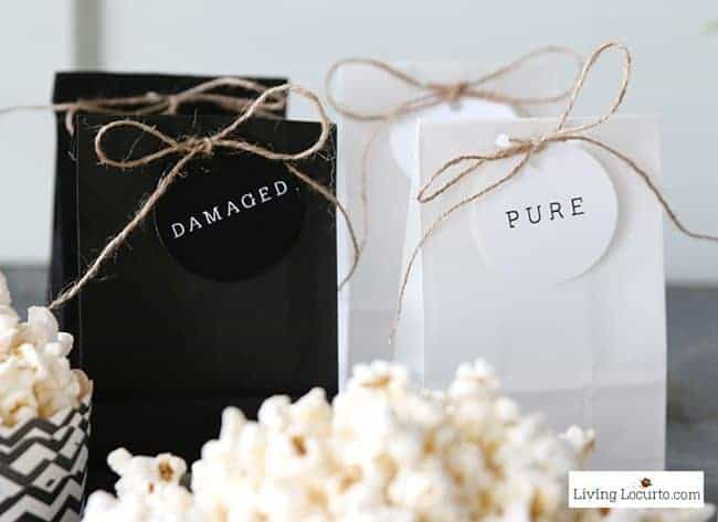 Fun Allegiant Party Ideas perfect for Divergent movie fans! Damaged and Pure Party favors. Free Party Printables to make your birthday or movie watching party complete. LivingLocurto.com