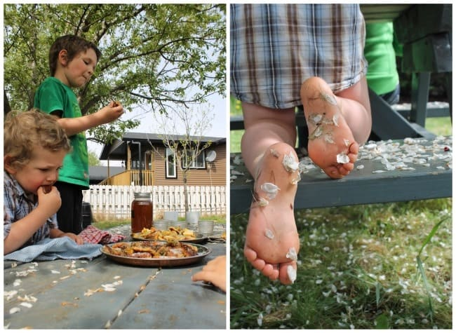 a collage image with two young boys at a table in the backyard, feasting on fried dandelion fritters, plus a close-up image of little boy feet with springtime blossoms stuck to them, sitting at the picnic table.