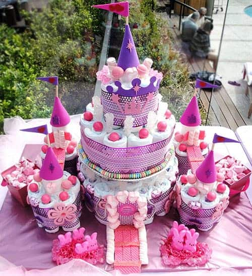 Pink Princess Castle Diaper Cake. 15 Creative Diaper Cakes. Amazing Baby Shower Party Ideas, crafts and homemade gifts.