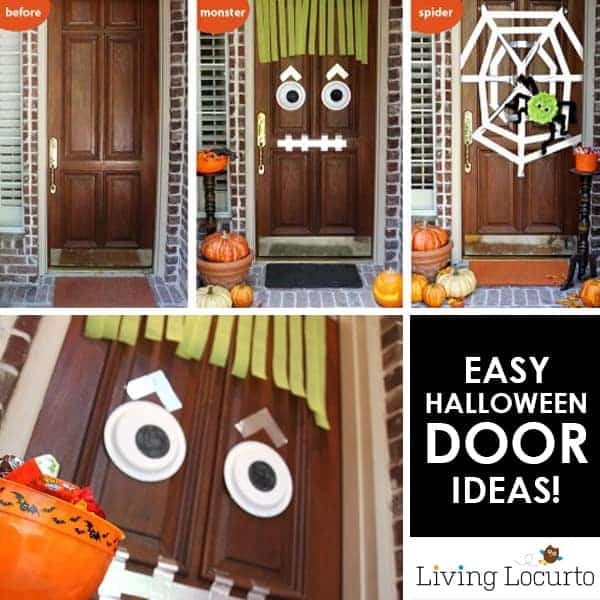 Easy DIY Halloween Door Decorating Ideas. Turn a door into a monster or spider with Duct Tape! Fun Crafts and Halloween Decor for Trick or Treat night.